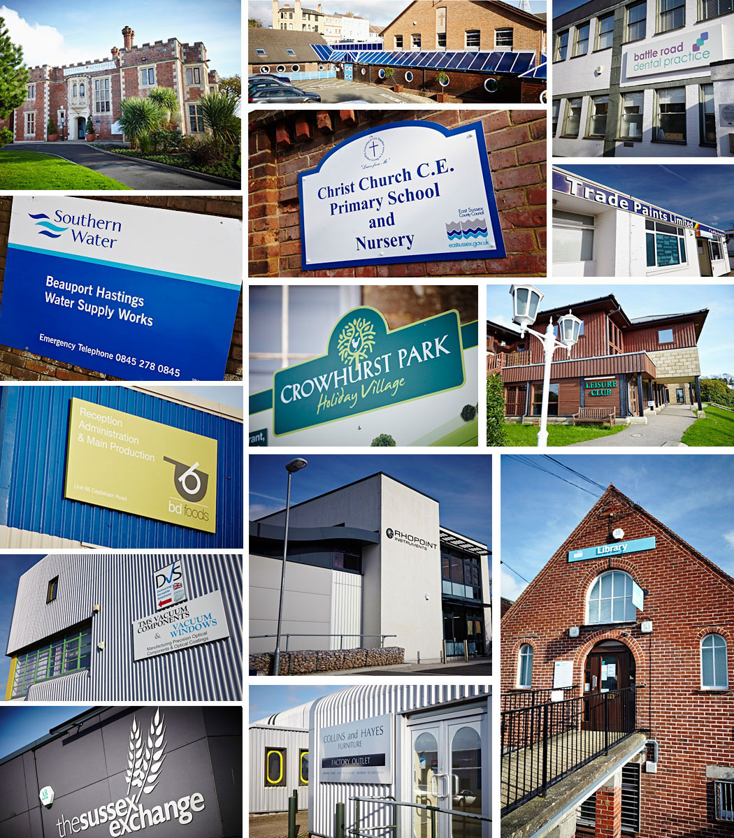 Plaques detailing many of the companies East Sussex Security has worked with